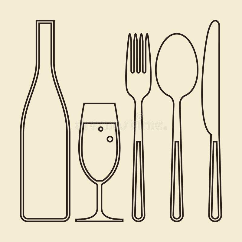 Butelka, szkło szampan, rozwidlenie, nóż i łyżka, ilustracji