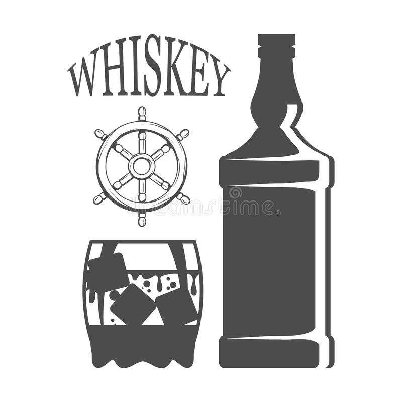 Butelka whisky, szkło, popijawa pije, butelka i szkło, alkoholu napój, alkohol dla mężczyzna, butelka whisky, antyczna ilustracja wektor