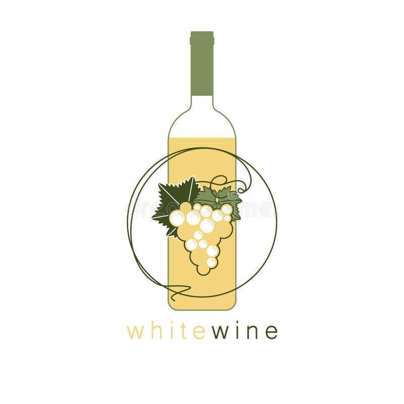 Butelka, wiązka winogrona i liść, ilustracji