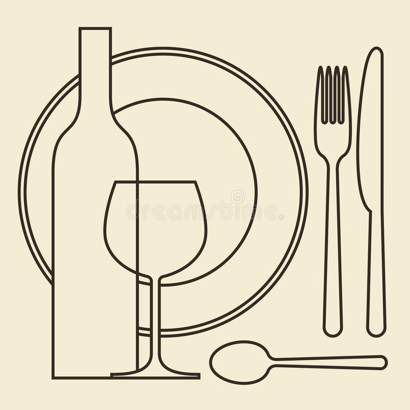 Butelka, wineglass, talerz i cutlery, ilustracji