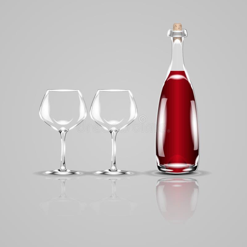 Butelka wino i dwa pustego szkła Realistyczna wektorowa ilustracja royalty ilustracja