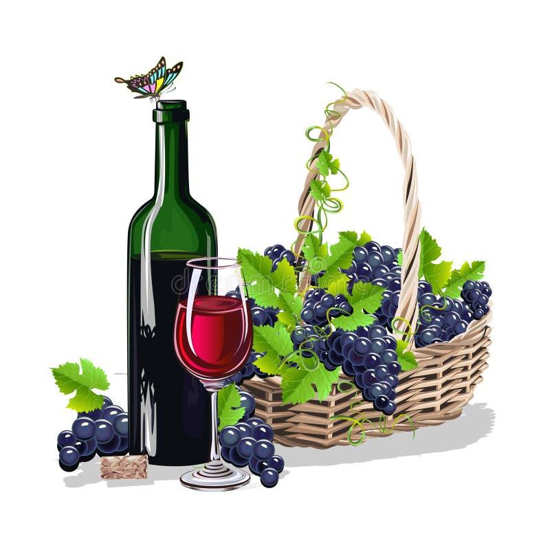 Butelka wino i kosz winogrona ilustracji