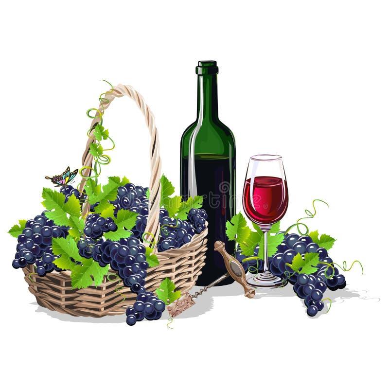 Butelka wino i kosz winogrona royalty ilustracja