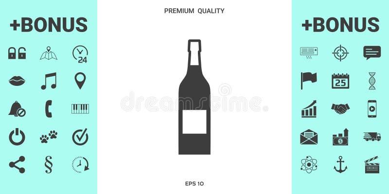 Butelka wino ikona ilustracji