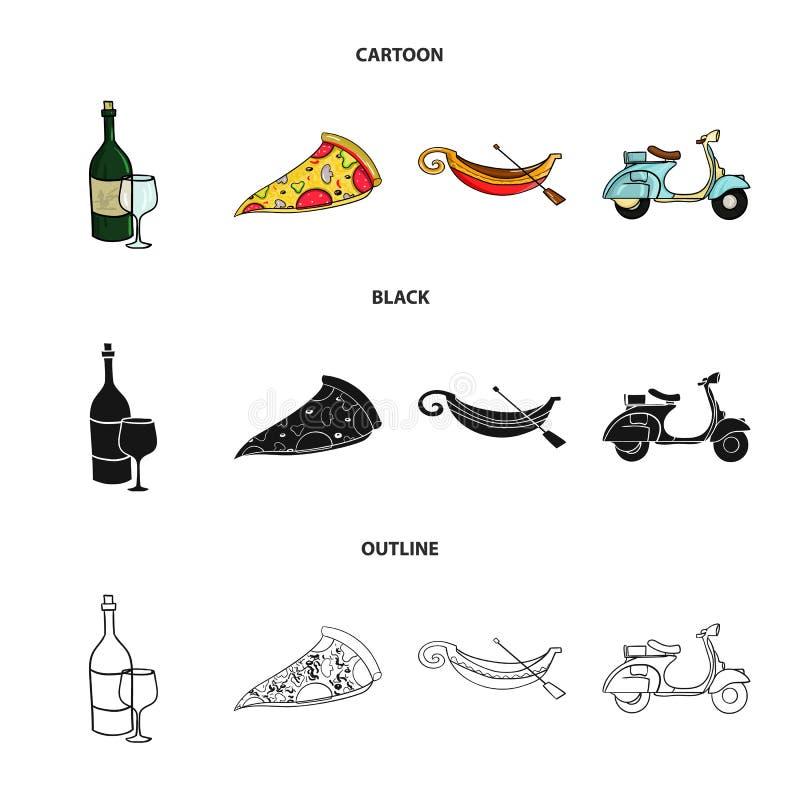 Butelka wino, kawałek pizza, gundola, hulajnoga Włochy ustalone inkasowe ikony w kreskówce, czerń, konturu styl ilustracja wektor