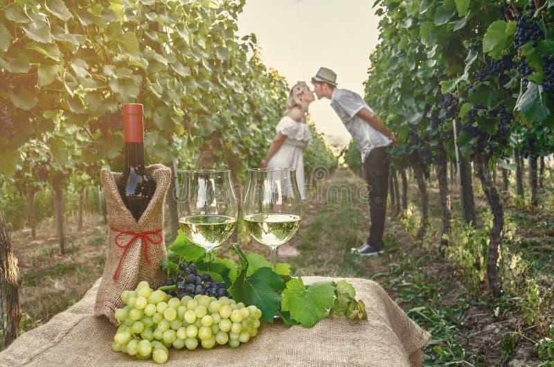 Butelka wino, winograd i szkło wino na tle th, fotografia stock
