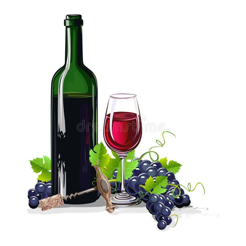 Butelka wino z wiązkami winogrona royalty ilustracja