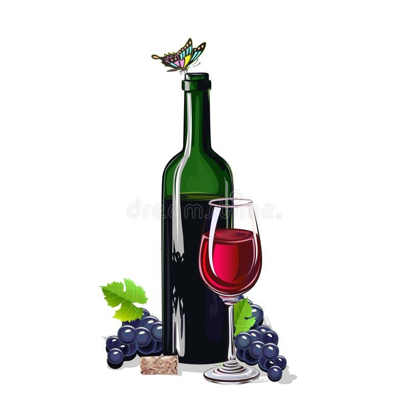 Butelka wino z wiązkami winogrona ilustracji