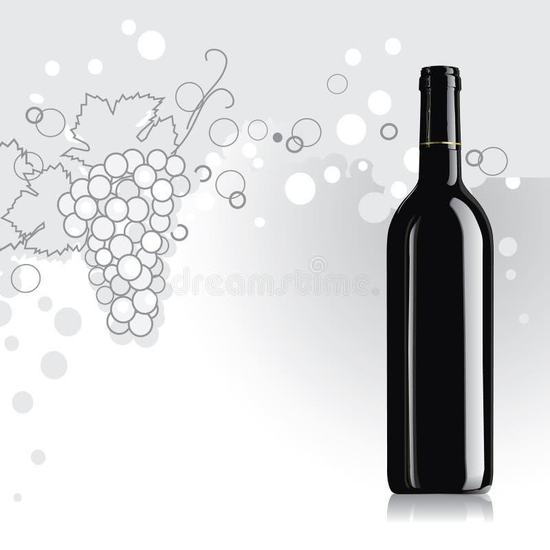 Butelka wino z winogronem ilustracja wektor