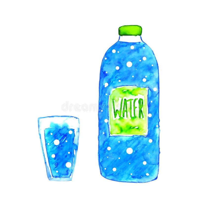 Butelka woda ilustracji