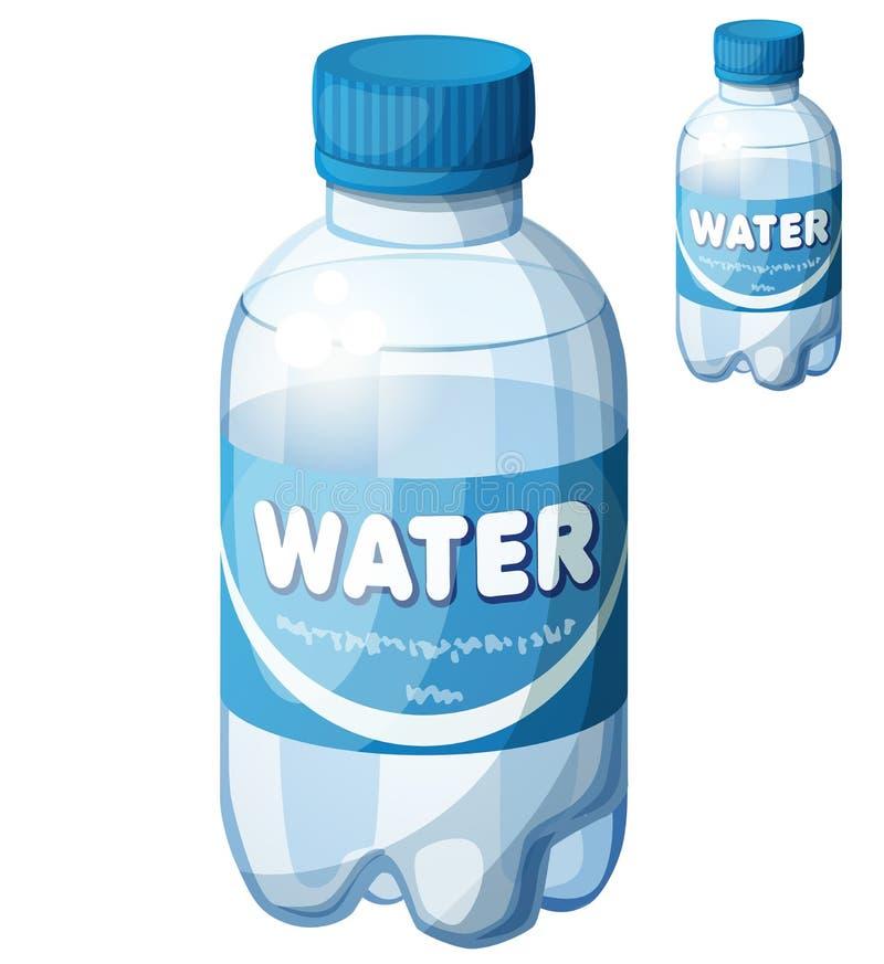 Butelka woda Kreskówki wektorowa ikona odizolowywająca na białym tle ilustracji