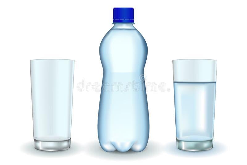 Butelka woda z szkłami ilustracji
