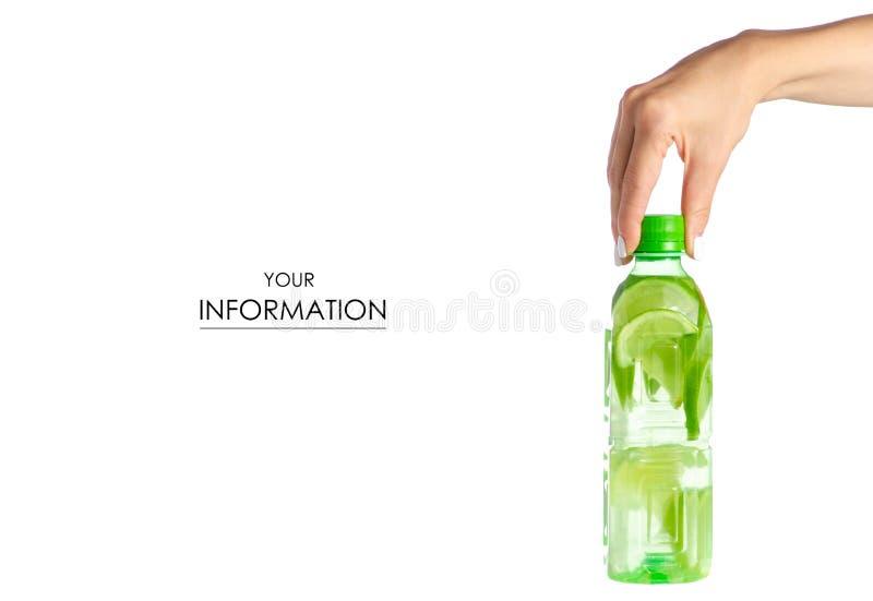 Butelka woda z wapnem w ręka wzorze zdjęcie stock