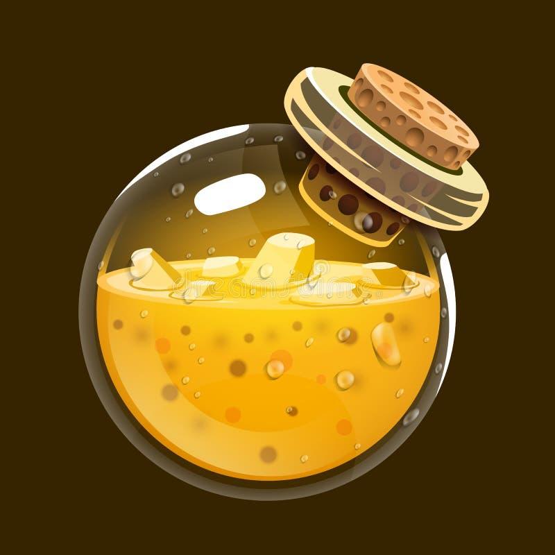 Butelka złoto Gemowa ikona magiczny eliksir Interfejs dla rpg lub match3 gry Złoto Duży wariant royalty ilustracja