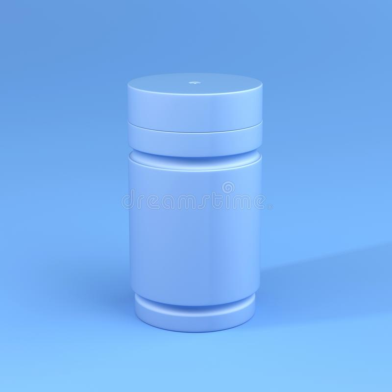 Butelka z Błękitnym koloru tematem, Minimalny pojęcie obraz stock