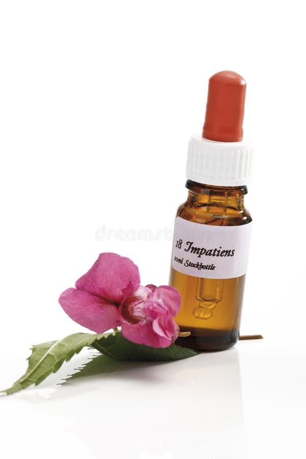 Butelka z Bach kwiatu zapasu remedium, Impatiens zdjęcia stock
