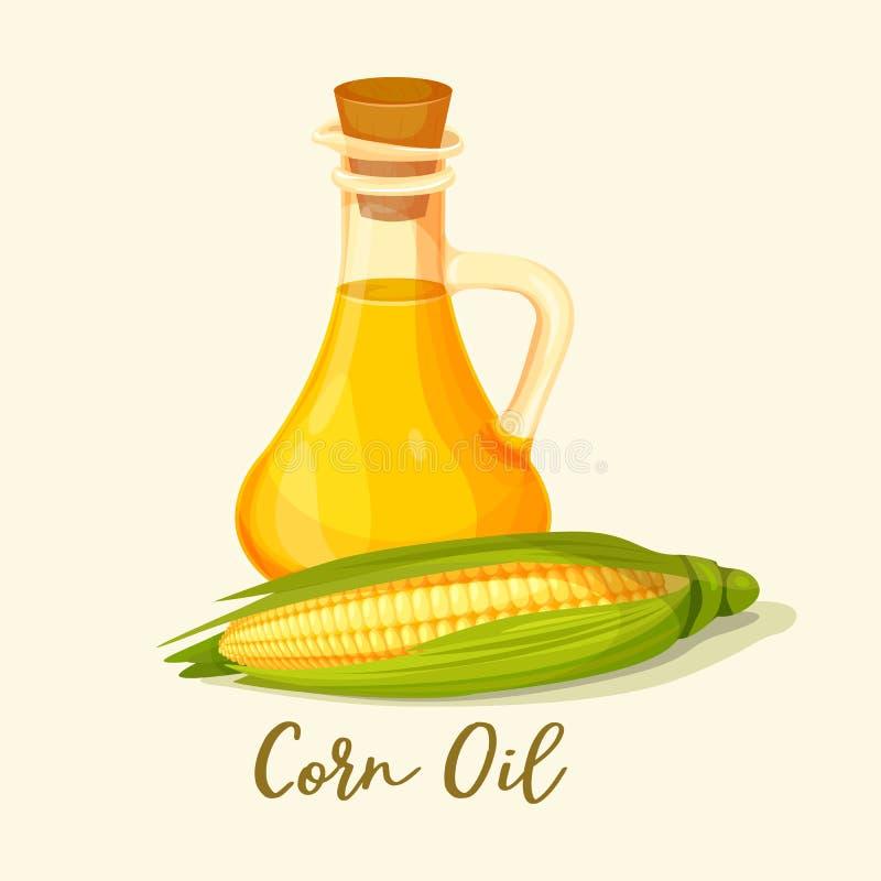 Butelka z kukurydzanym olejem blisko kaczanu lub kukurydzy royalty ilustracja