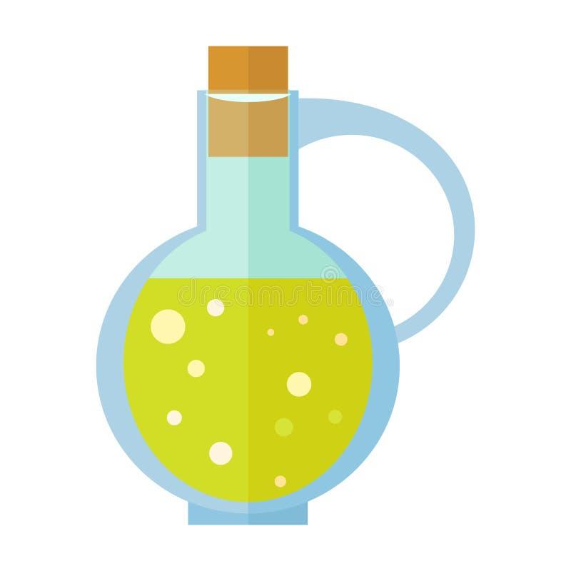 Butelka z oliwa z oliwek wektorem w Płaskim projekcie ilustracji