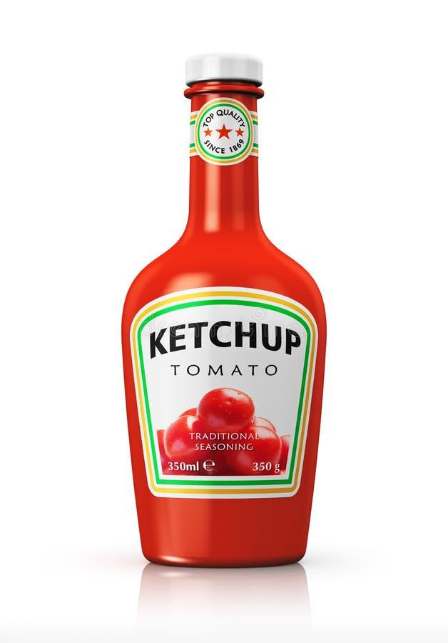 Butelka z pomidorowym ketchupem royalty ilustracja