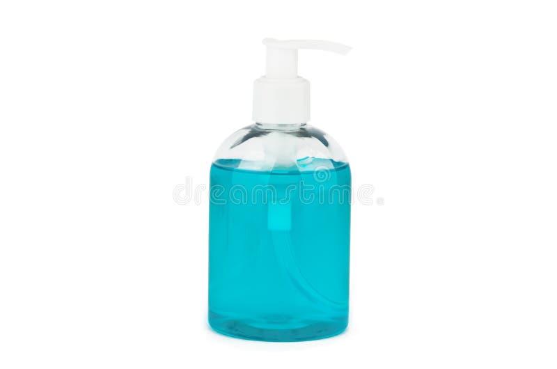 Butelka z turkusowym ciekłym mydłem zdjęcie stock