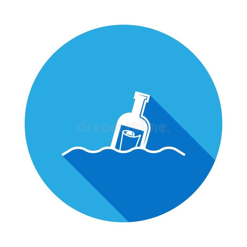 butelka z wiadomością w dennej ikonie z długim cieniem Element plażowi wakacje dla mobilnych pojęcia i sieci apps znaki i ilustracja wektor