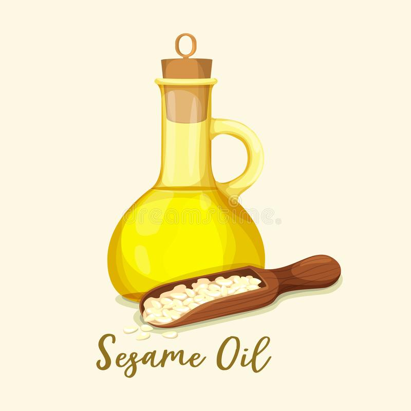 Butelka z złotym sezamowym olejem i ziarnami w łyżce ilustracja wektor