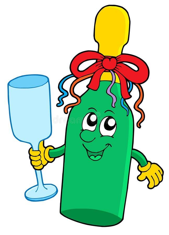 butelki śliczny szklany lśnienia wino ilustracji