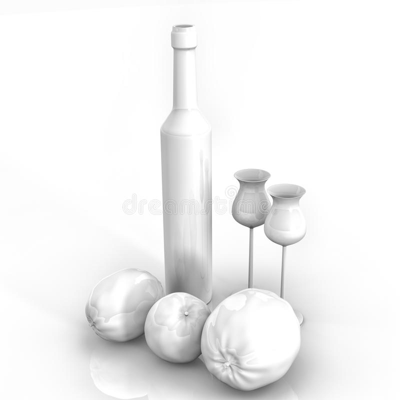 butelki życia limoncello wciąż royalty ilustracja