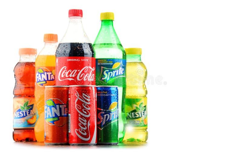 Butelki asortowani Koka-koli Firma miękcy napoje zdjęcia royalty free
