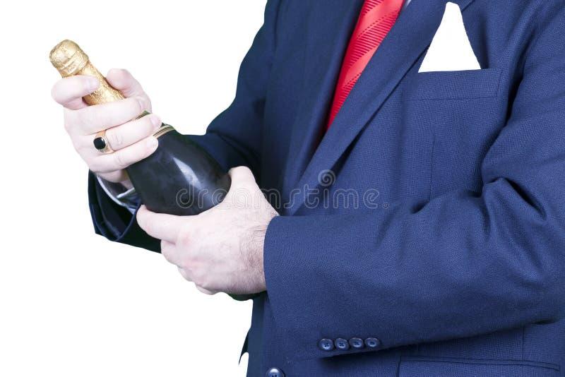 butelki biznesmena szampan zdjęcie stock