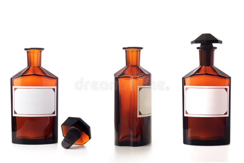 butelki chemiczny rocznika biel zdjęcia royalty free