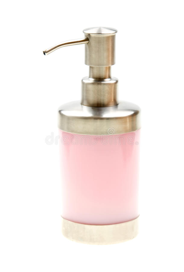 butelki ciecza menchii pompy mydła biel fotografia stock