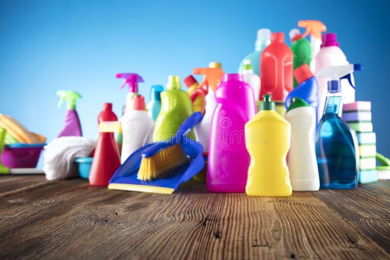 butelki cleaning szczęśliwa target2698_0_ mknąca uśmiechnięta kiści wiosna kobieta obrazy stock