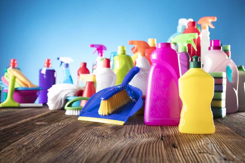 butelki cleaning szczęśliwa target2698_0_ mknąca uśmiechnięta kiści wiosna kobieta zdjęcia stock