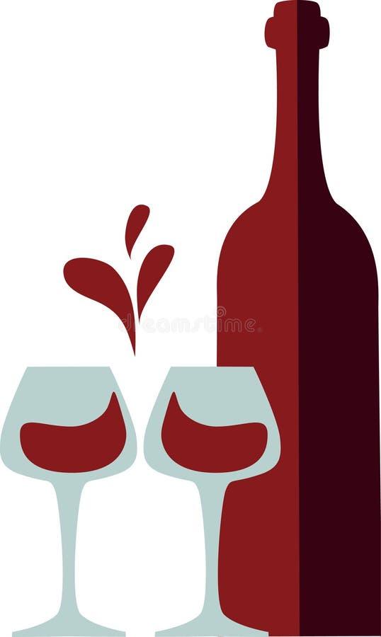 butelki clink szkieł czerwony pluśnięcia wino royalty ilustracja