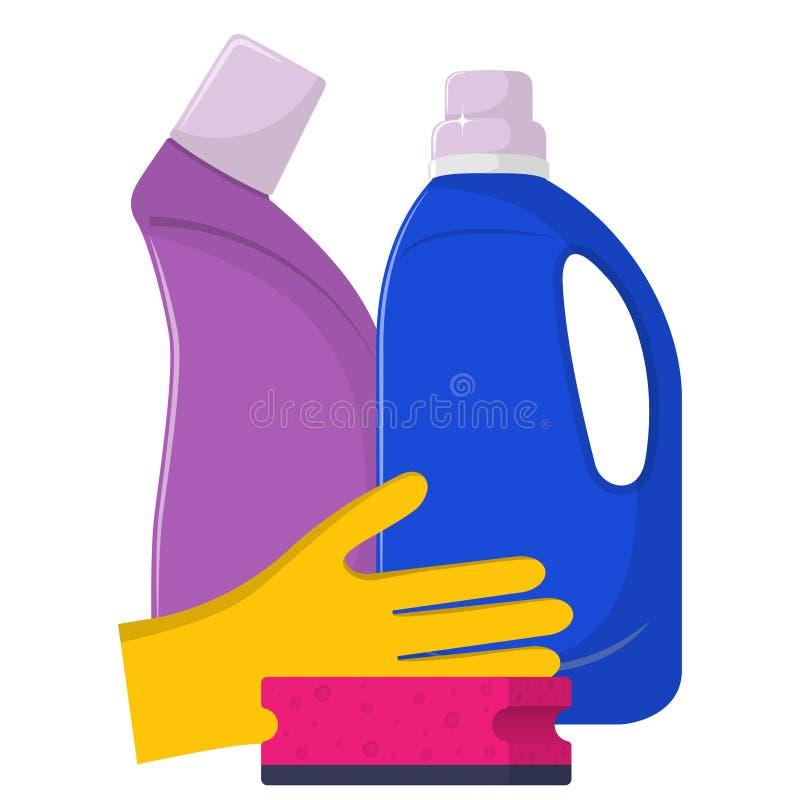 Butelki detergent, płuczkowy proszek, detergentu proszek, gumowe rękawiczki, cleaning gąbka Czyści usługa pojęcie Wektorowy illu ilustracji