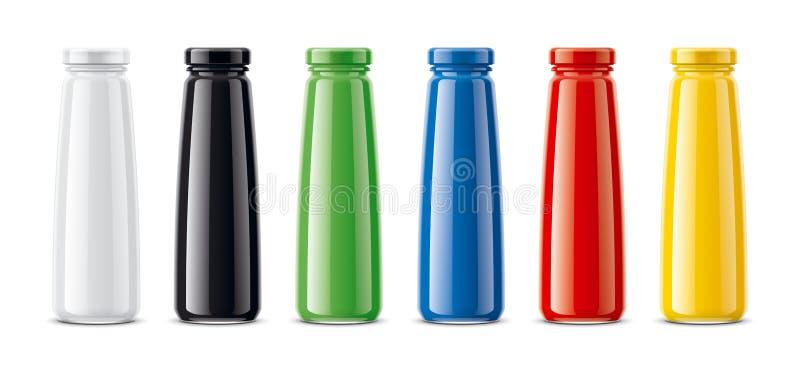 Butelki dla soku, nabiałów napojów i inny, Barwiona, przejrzysta wersja, royalty ilustracja