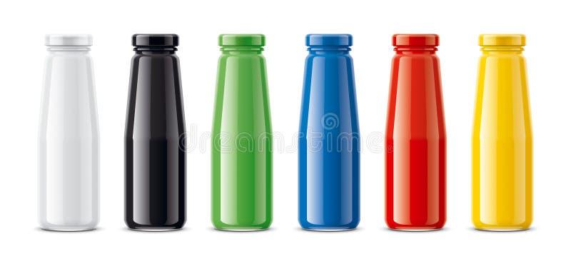Butelki dla soku, nabiałów napojów i inny, Barwiona, przejrzysta wersja, ilustracja wektor