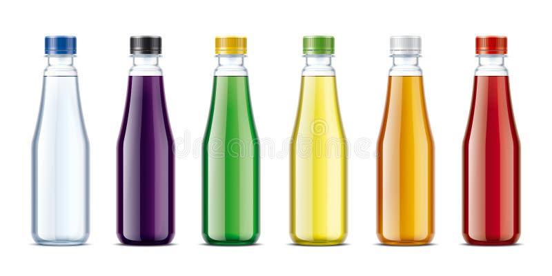 Butelki dla wody, soku, lemoniady i inny, piją ilustracji