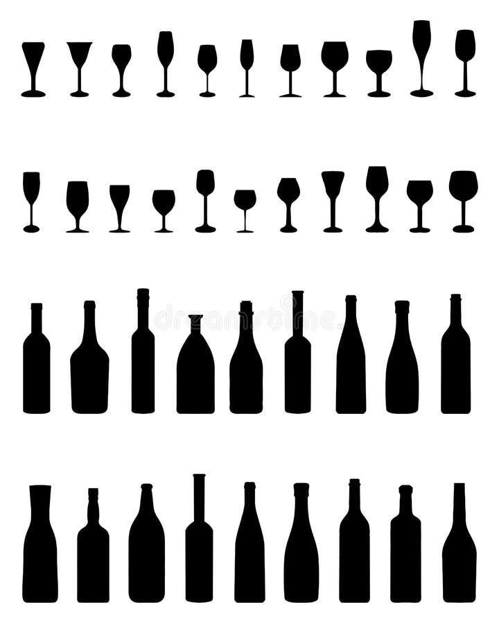 Butelki i Szkła royalty ilustracja