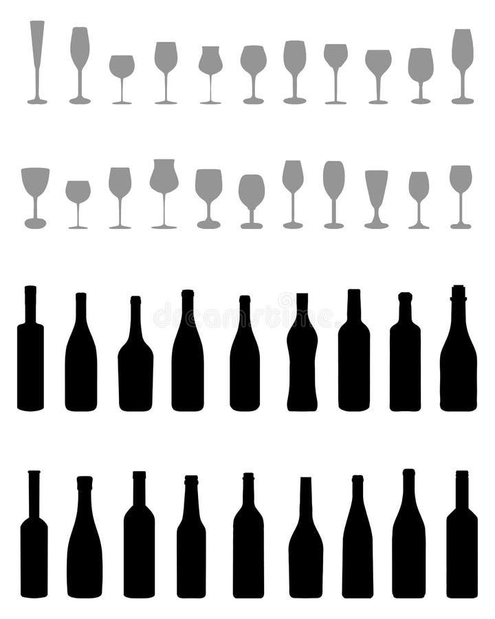 Butelki i Szkła ilustracja wektor