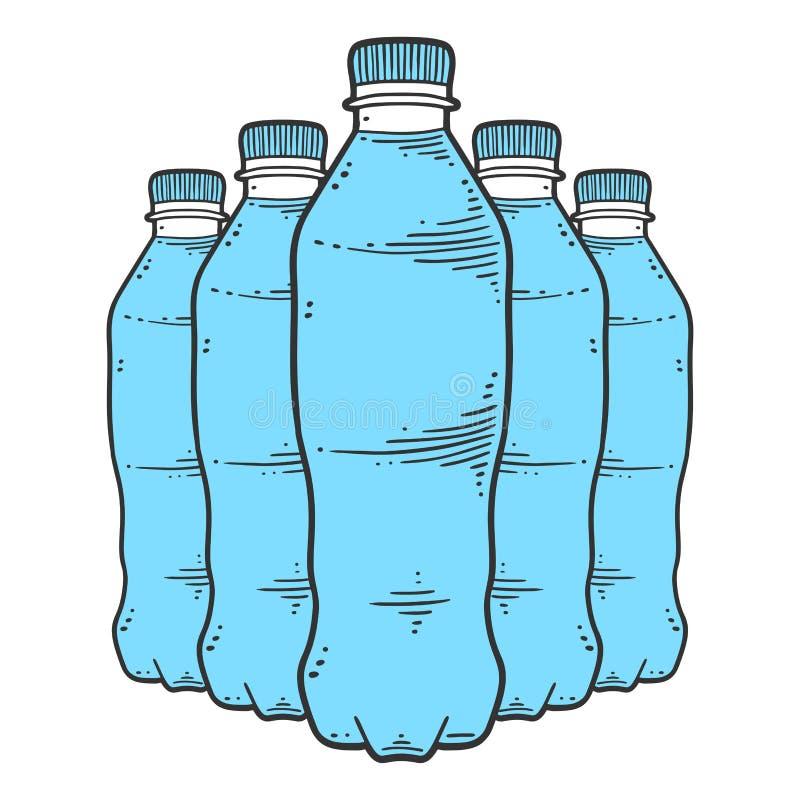 butelki ilustracyjna raster wersi woda Wektorowy pojęcie w doodle i nakreślenia stylu royalty ilustracja