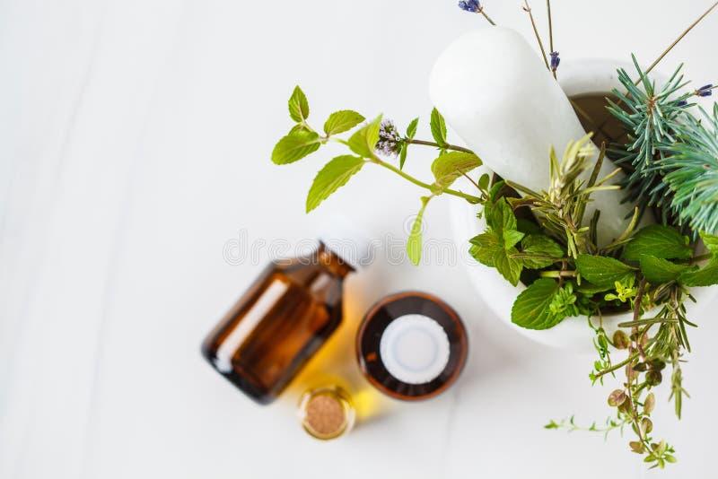 Butelki istotny olej, biały tło Zdrowy kosmetyka pojęcie zdjęcia stock