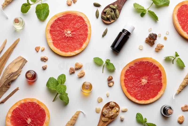 Butelki istotny olej z świeżymi grapefruitowymi, miętowymi, białymi sandałowami, kardamonowymi zdjęcie stock