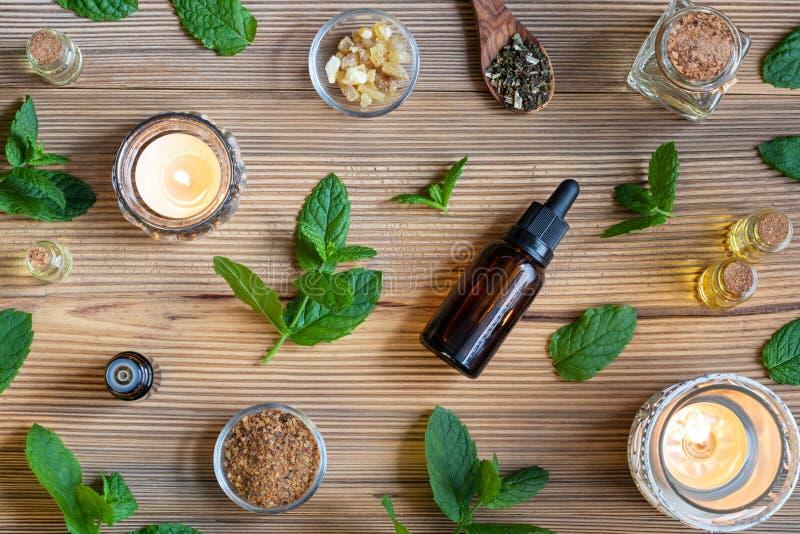 Butelki istotny olej z miętówką, frankincense i mirą, zdjęcia royalty free
