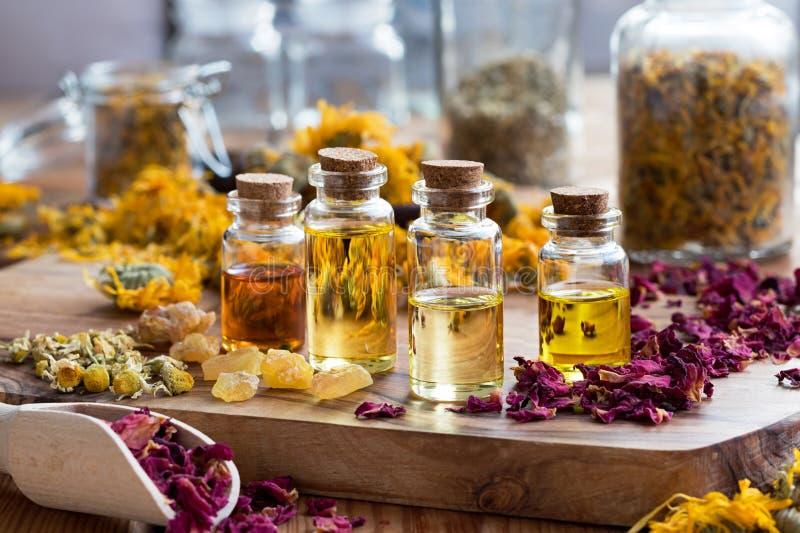 Butelki istotny olej z ziele i frankincense żywicą fotografia royalty free