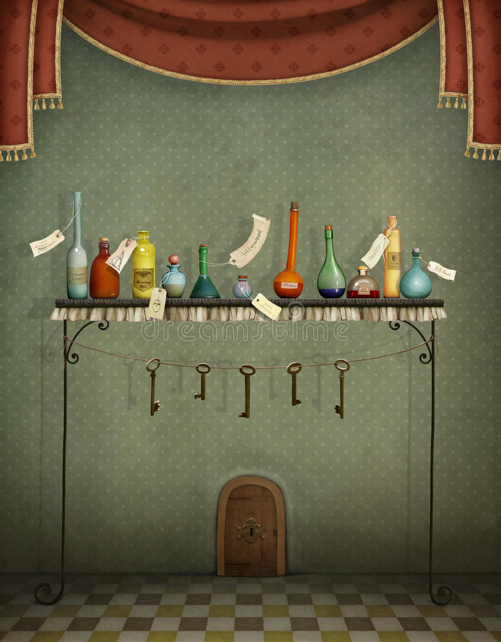 Butelki, klucze i mały drzwi, royalty ilustracja