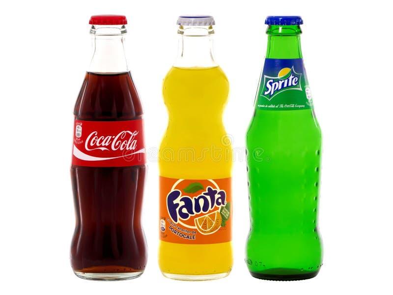 Butelki koka-kola, Fant i Sprite, zdjęcia stock