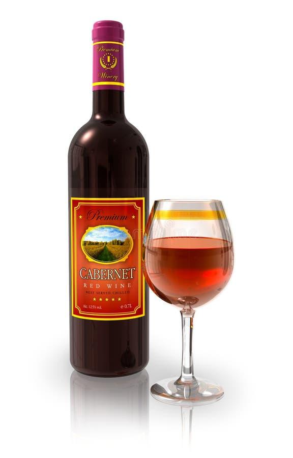 butelki kryształ folujący czara czerwone wino royalty ilustracja