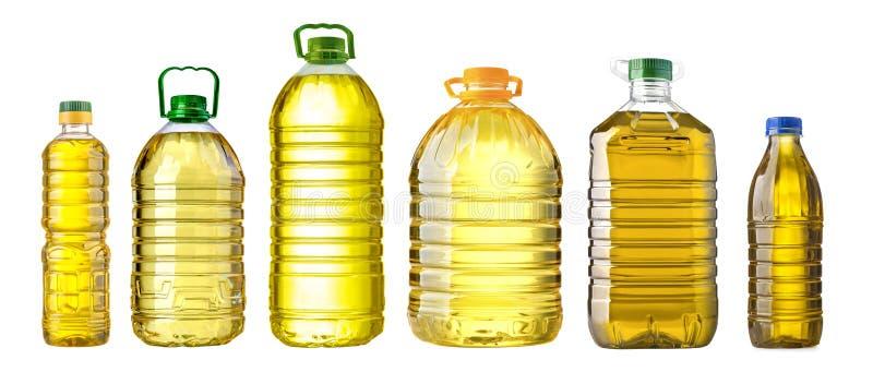 Butelki nafciany plastikowy duży na białym tle obraz stock